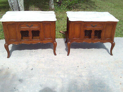 Pair Of Antique French Provincial Side Tables With Italian Marble Tops