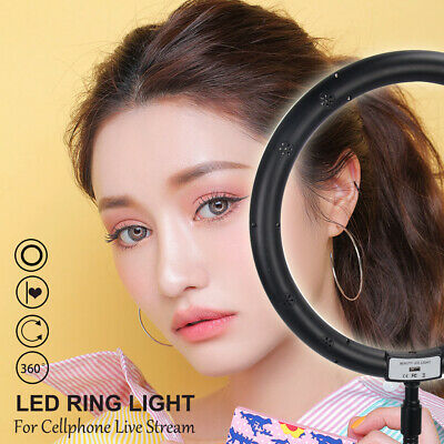 "10"" DeskLED Dimmable Ring Light Studio Photo Video Live Lamp Camera Phone holder"