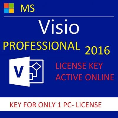 Visio 2016 PRO Plus, License Key,Active Online Full Version for 1 PC, INSTANT