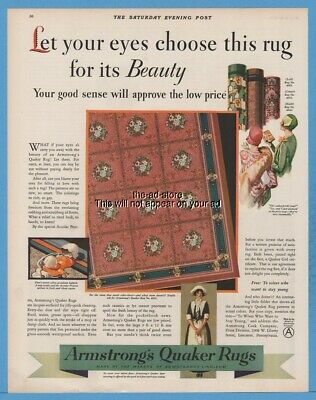 1929 Quaker Rugs Armstrong Cork Co Lancaster Pennsylvania 1920's Hat Fashion Ad