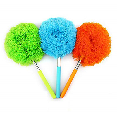 Telescopic Bendable Microfiber Dusting Brush with Extendable Pole, Washable Head