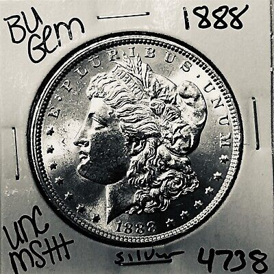 1888 Bu Gem Morgan Silver Dollar Unc Ms++ Genuine U.s. Mint Rare Coin 4738