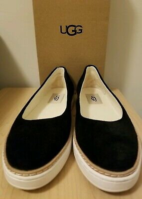 c3575c21d978 UGG Black Leather KAMMI Slip On Ballet Flat SHOES womens Size 7.5 New in BOX
