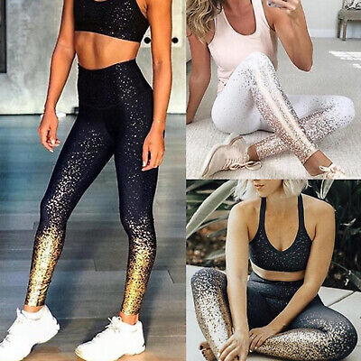 Women Yoga Gym Sports Running Leggings Pants Sparkly High Waist Stretch Trousers