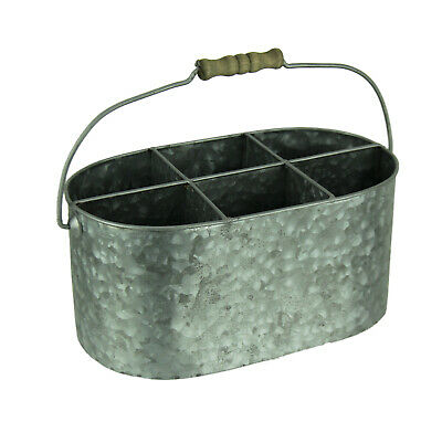 Galvanized Metal Vintage Divided Caddy with Wood Handle