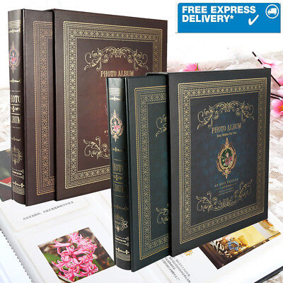 Vintage Large 6x4 Photo Album Holds 500 Photos Holiday/Wedding - Deep Red/ Green