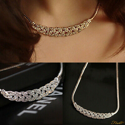 Women Jewelry Crystal Pendant Chain Choker Chunky Statement Bib Charm Necklace