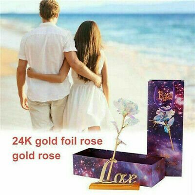 24K Gold Plated Galaxy Rose Valentine's Day Gifts Girlfriend Wife Lover Present