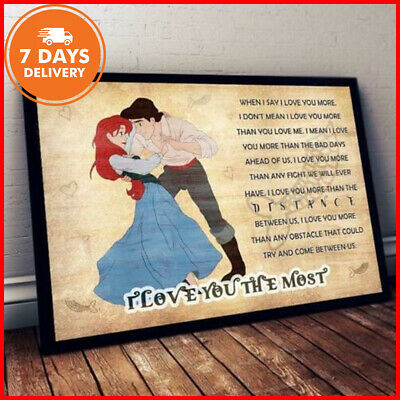 Prince Eric And Ariel Poster I Love You The Most Horizontal Poster No Frame US