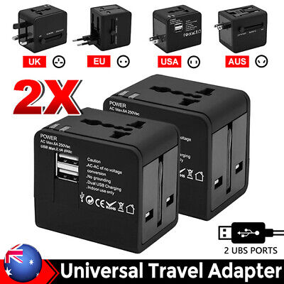 Universal World Travel Adapter Dual 2 USB Plug Wall Charger AC Power UK US EU AU