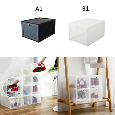 1PCS Foldable Stackable Clear Drawer Case Organizer Box Holder Shoe Storage zxc