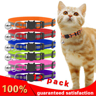 12 PACK New Adjustable Puppy Kitten Cat COLLARS with Bell ,NEW Colorful Patterns