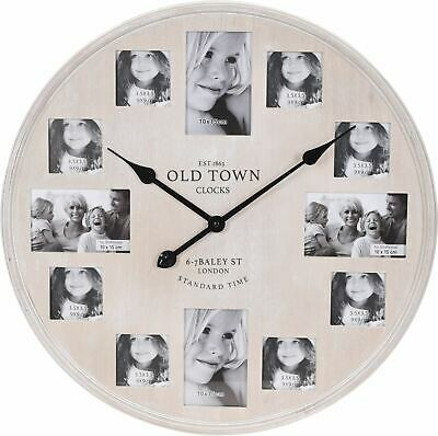 Large Wooden Limewashed Old Town London Photo Picture Frame Wall Clock 60cm