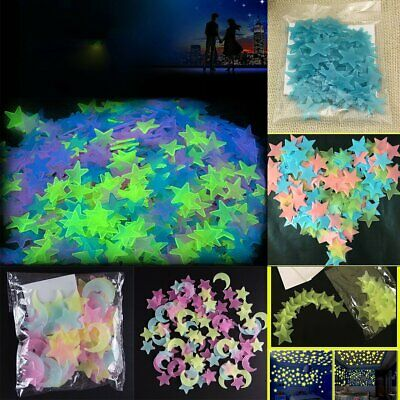 100pcs Plastic 3D Stars Glow In The Dark Luminous Fluorescent Wall Stickers