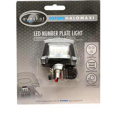 Oxford Halo Maxi LED Number Plate Light Motorcycle E Marked Motorbike Ghostbikes