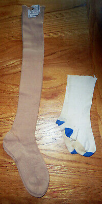 2 Pair Vintage Antique Children's Long & Short Cotton Stockings Tan 1 Nos