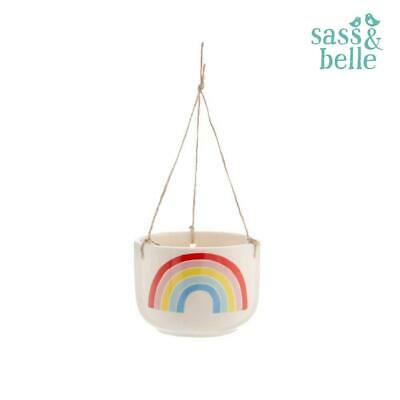 Sass & Belle Colourful Fun Chasing Rainbows Hanging Flower Pot Planter