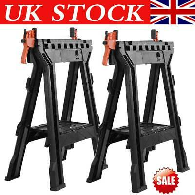 2X Heavy Duty Folding Sawhorse Kit Sturdy Saw Horse Non Skid Clamping Work Tools