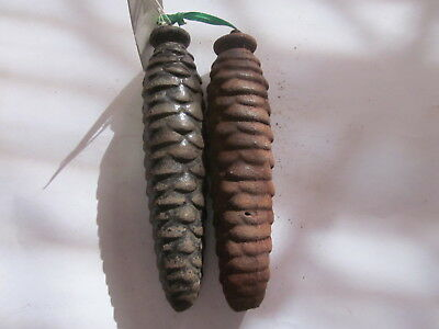 Vintage Black Forest Cuckoo Clock Cast Iron Pine Cone Weights 13.3 & 13.6 Ounce