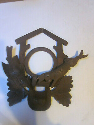 Antique Carved Black Forest Cuckoo Clock Wood Front Case Rabbit Bird & Pouch