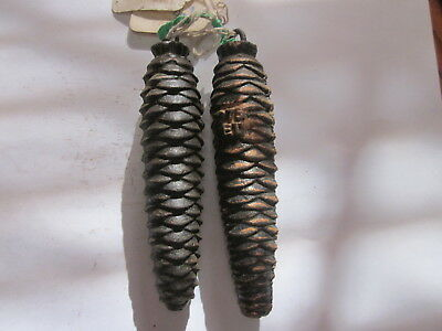 Vintage Black Forest Cuckoo Clock Cast Iron Pine Cone Weights 9.9 & 9.2 Ounces
