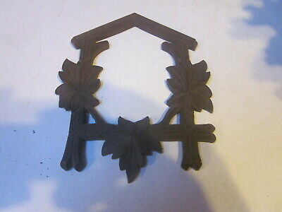 Vintage Black Forest Cuckoo Clock Wood Front Case Frame Small W/ 3 Leaves