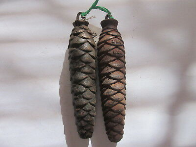 Vintage Black Forest Cuckoo Clock Cast Iron Pine Cone Weights 9.8 & 9.5 Ounces