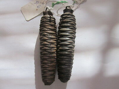 Vintage Black Forest Cuckoo Clock Cast Iron Pine Cone Weights 9.9 & 9.8 Ounces