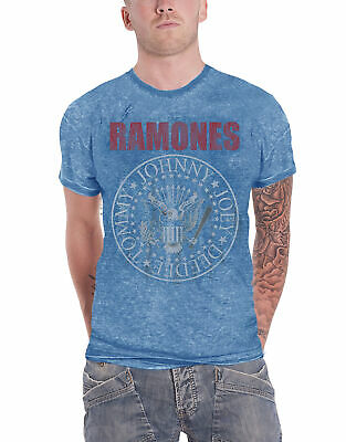 Ramones T Shirt Presidential Seal Hey Ho Logo Official Mens New Blue Burnout