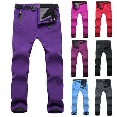 New Womens Outdoor Soft Shell Pants Waterproof Hiking Climbing Elastic Trousers