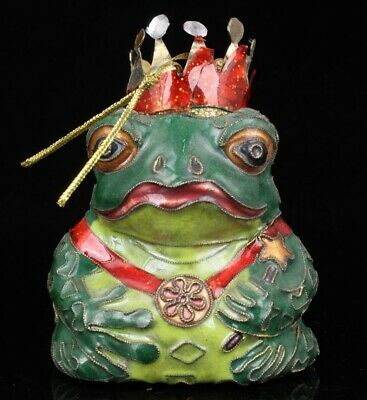 Precious Chinese Cloisonne Pendant Statue Frog Model Old Collection Mascot
