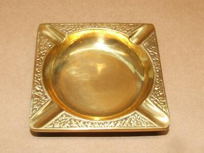 "Vintage Bangkok Arts & Crafts HEAVY Brass Square Floral Ashtray 7.4 oz 3.5"" X 5"""