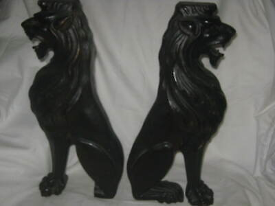 2 Antique Primitive Architectural Carved Lion Wood Baluster Post Plinth Columns