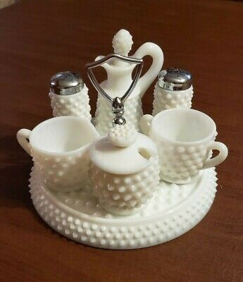 Vintage Fenton Hobnail Milk Glass Condiment Set #3809 made 1950 to 1969
