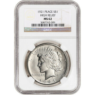 1921 US Peace Silver Dollar $1 - High Relief - NGC MS62