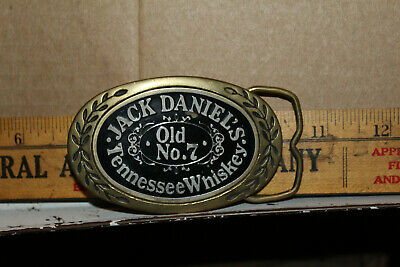 Vintage Jack Daniels Old No. 7 Tennessee Whiskey Belt Buckle Aminco 1980 Brass