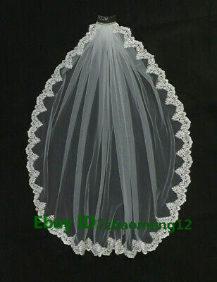 Elbow/ Fingertip Handmade 1T ivory Wedding Bridal Veil Sequins Lace With Comb