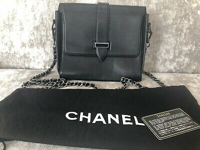 341589775 100% Authentic Chanel Black Vintage Cross Body Lambskin Leather Box Style  Bag