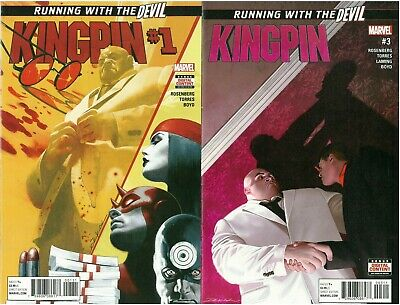 """2 x Kingpin Comics #1 & 3 Running with the """"Dare"""" Devil Story Tombstone Marvel!!"""