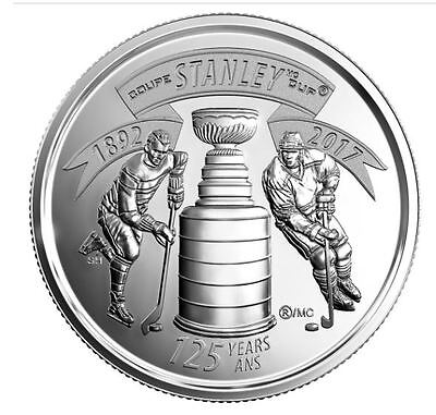 Canada 2017 Stanley Cup 125th Anniversary 25 Cent Mint Coin.