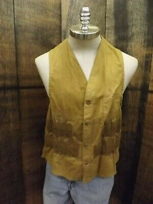 American Field Vtg 1950s Duck Cotton Hunting Vest Game Pouch Ammo Holders Sz L