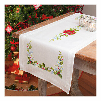 Embroidery Kit Runner Poinsettia & Ribbon Design on Cotton Fabric  Size 40x100cm