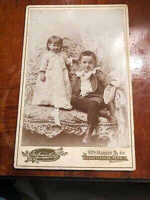 Southern Cabinet Card Photograph, Two Small  Children Chattanooga Ten Schmedling