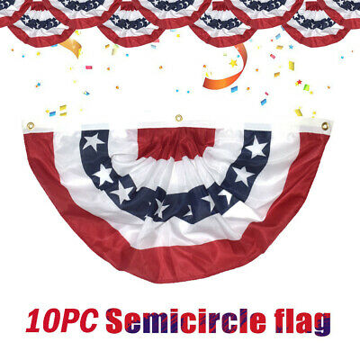 10Pcs US American Flag Bunting Heavy Duty Brass Grommets Stars Stripes Polyester