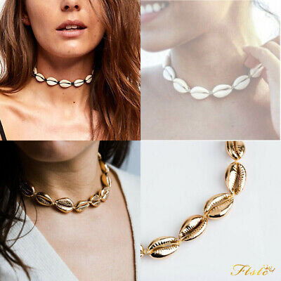 Cowrie Shell Choker Natural Shell Necklace Gold Adjustable Beach Bloggers Fav