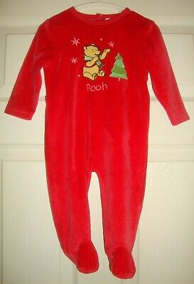 POOH~boy's~CHRISTMAS/EMBROIDERED/applique/SLEEPER/w/TRAPDOOR! (12/18/MO?) CUTE!