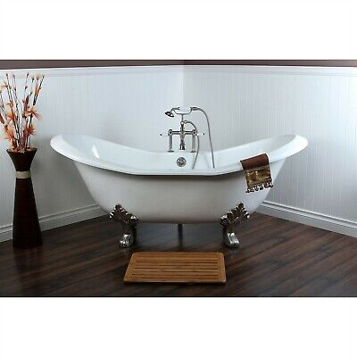 """72"""" Large Claw Foot Tub with Satin Nickel Clawfoot Tub Faucet and Hardware CTP07"""