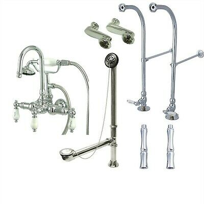 Floor Mount Chrome Hot/Cold Lever Clawfoot Tub Filler with Hand Shower 10T1FSP
