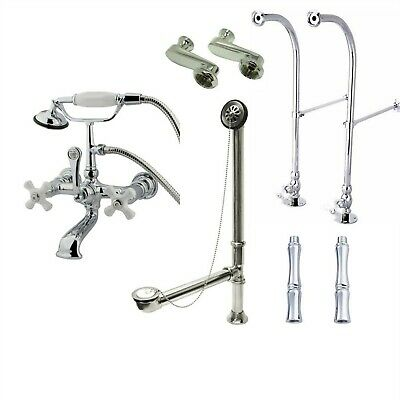 Floor Mount Chrome Porcelain Cross Clawfoot Tub Filler with Hand Shower 560T1FSP