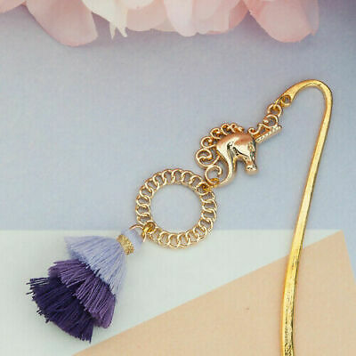 Gold Plated Horse Head Bookmark Purple Tassel Bookmarks Animals Reading Gifts